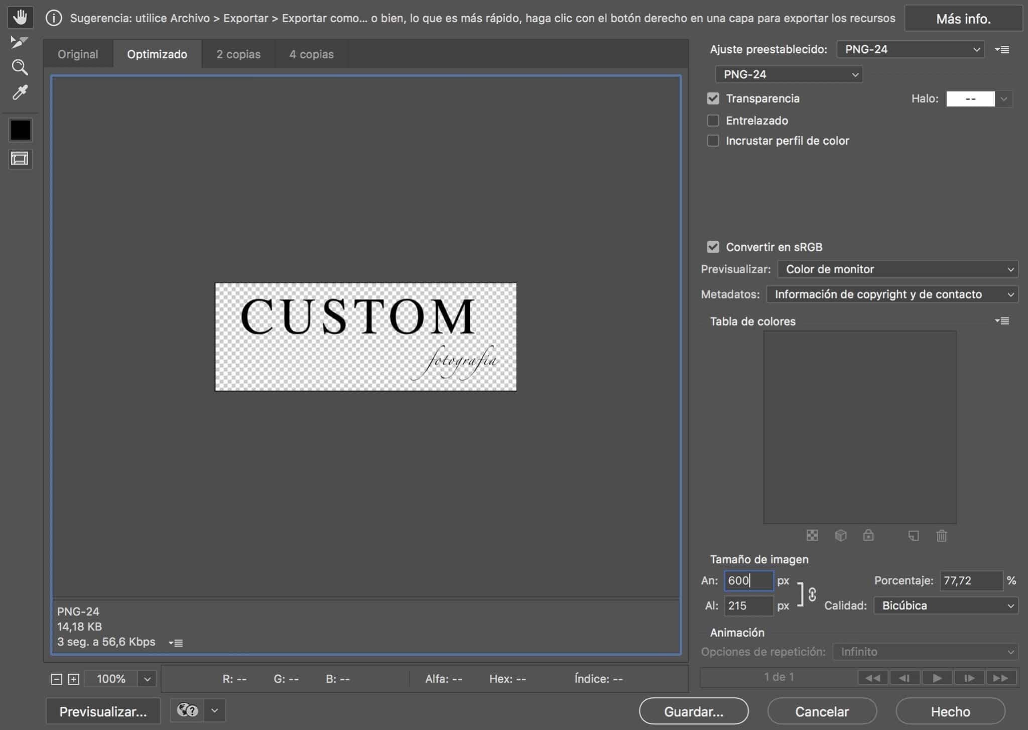 Exportando un fichero de imagen PNG de fondo transparente