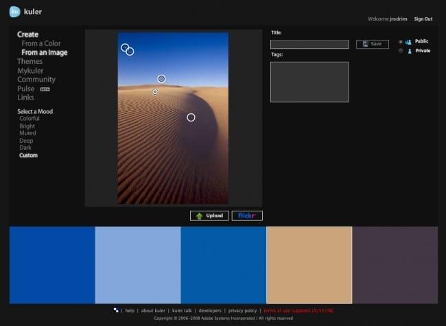 Combinaciones de color para el diseño de tu web con Adobe Kuler