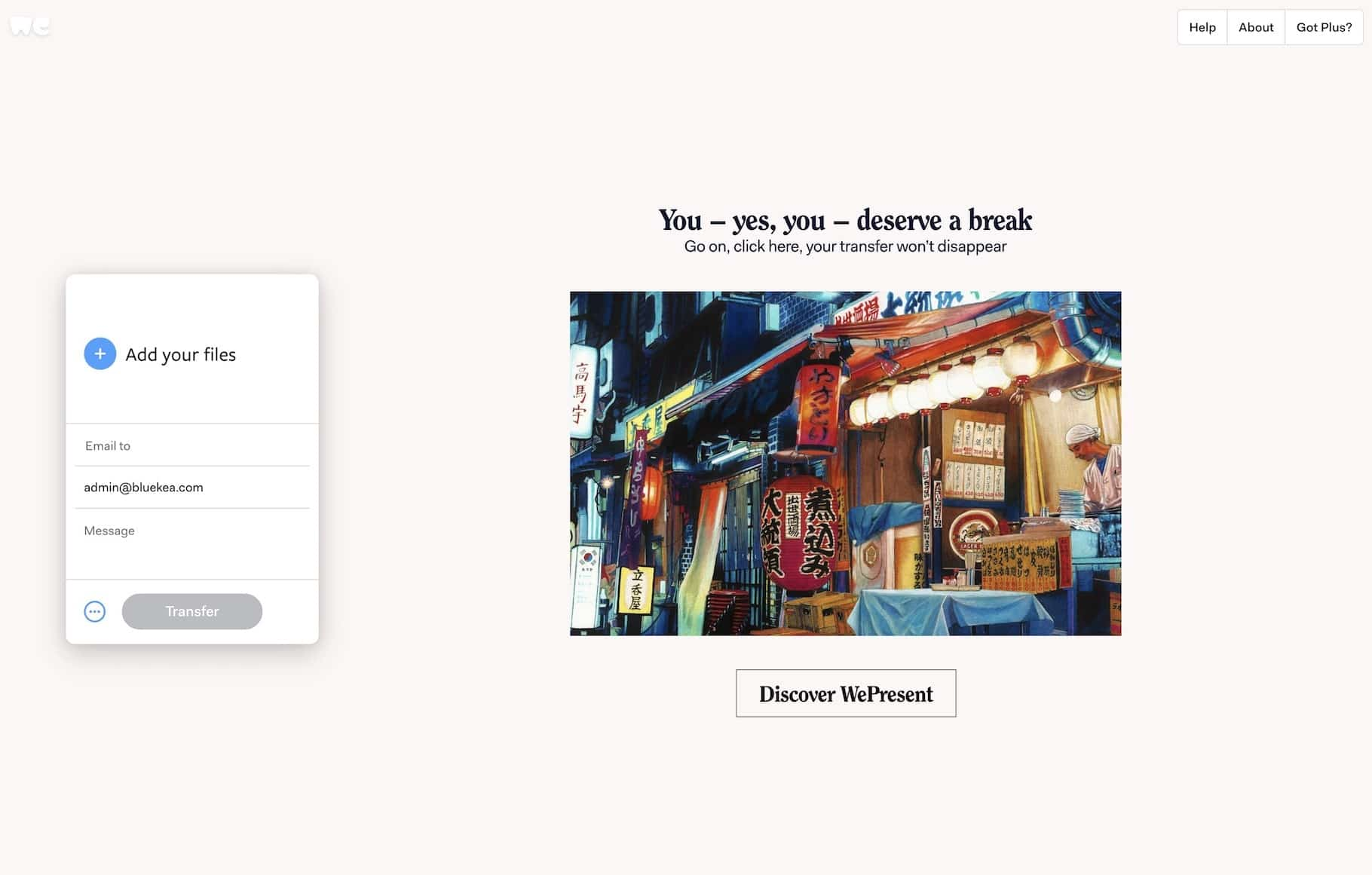 Enviar fotos de forma privada con WeTransfer
