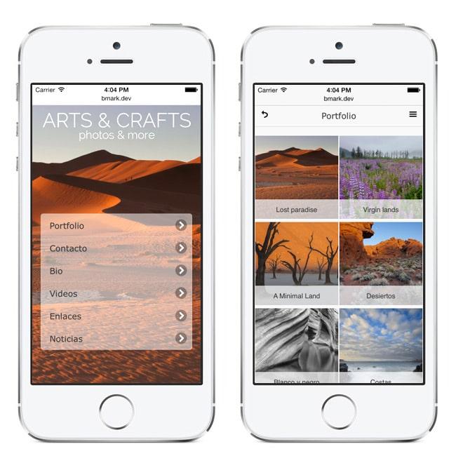 Versión móvil de webs para fotógrafos