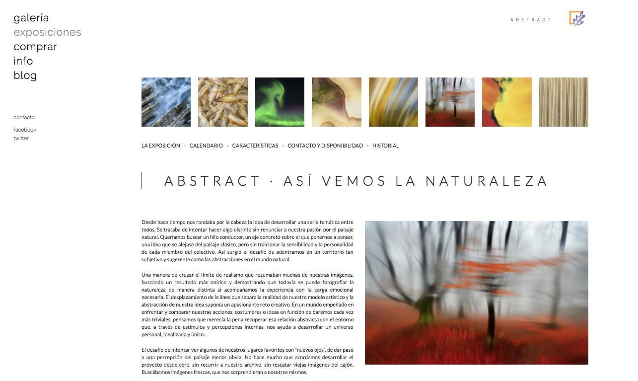 Nueva web de Portfolio Natural en Bluekea. Exposición Abstrac