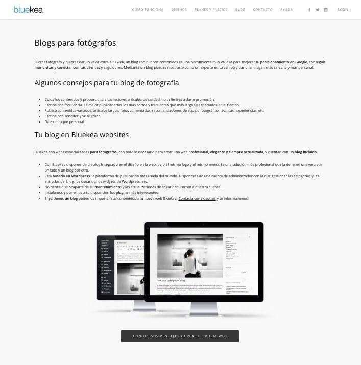 Landing page orientada a blogs para fotografos