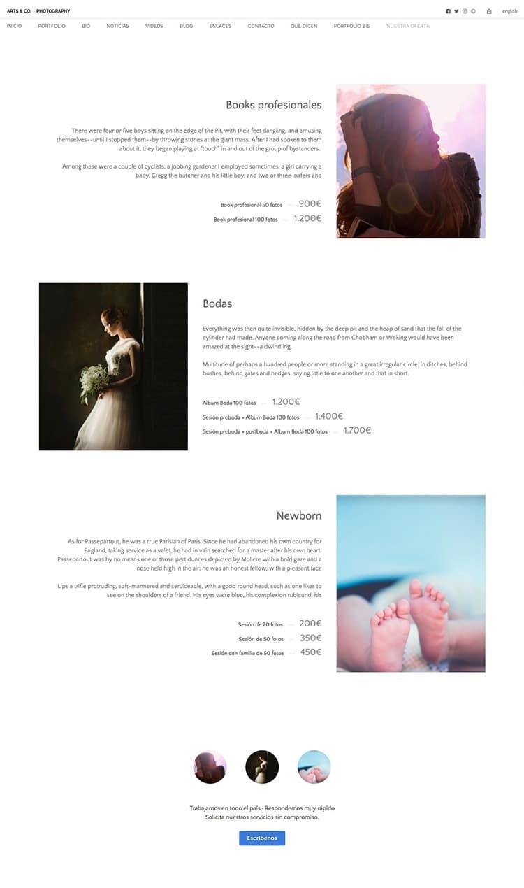 Nueva página de servicios fotográficos en Bluekea