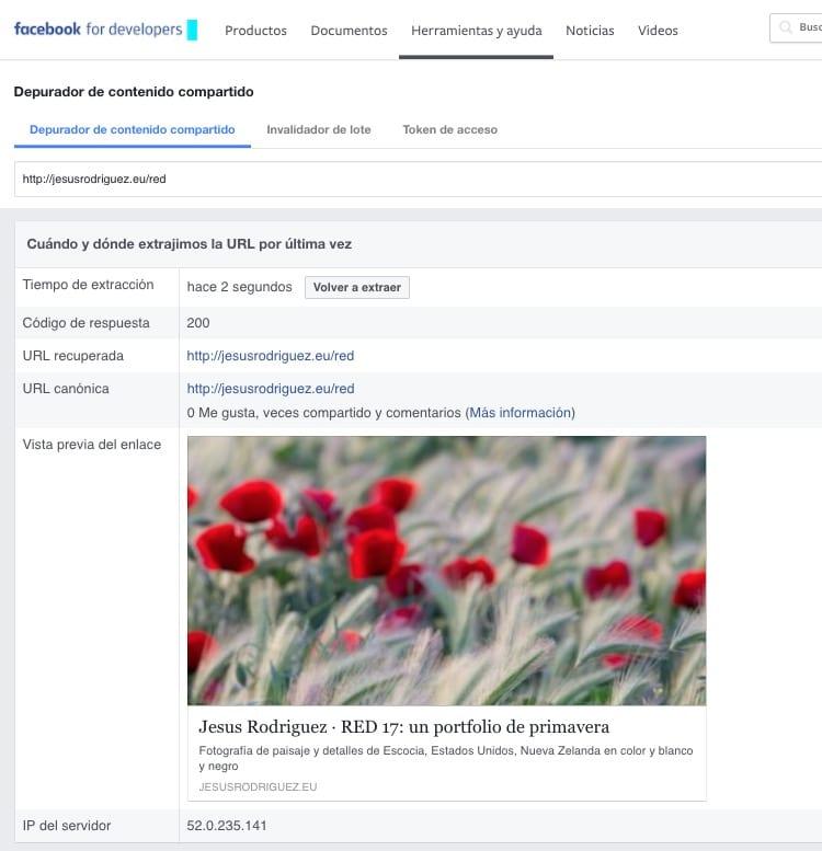 Herramienta de depuración de contenido compartido de Faceook