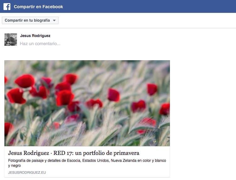 Titulo, descripción e imagen al compartir una galería en Facebook