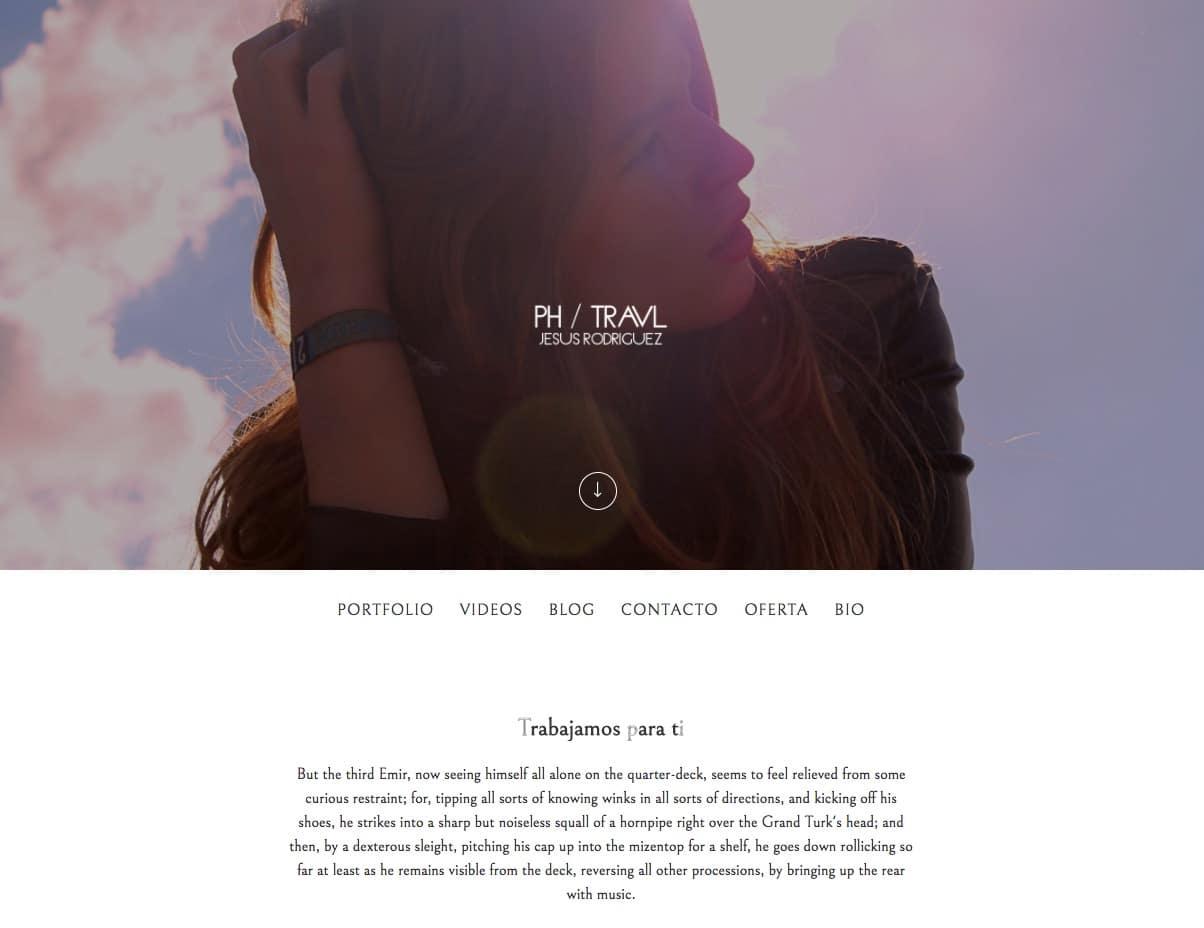 portada de una web con texto