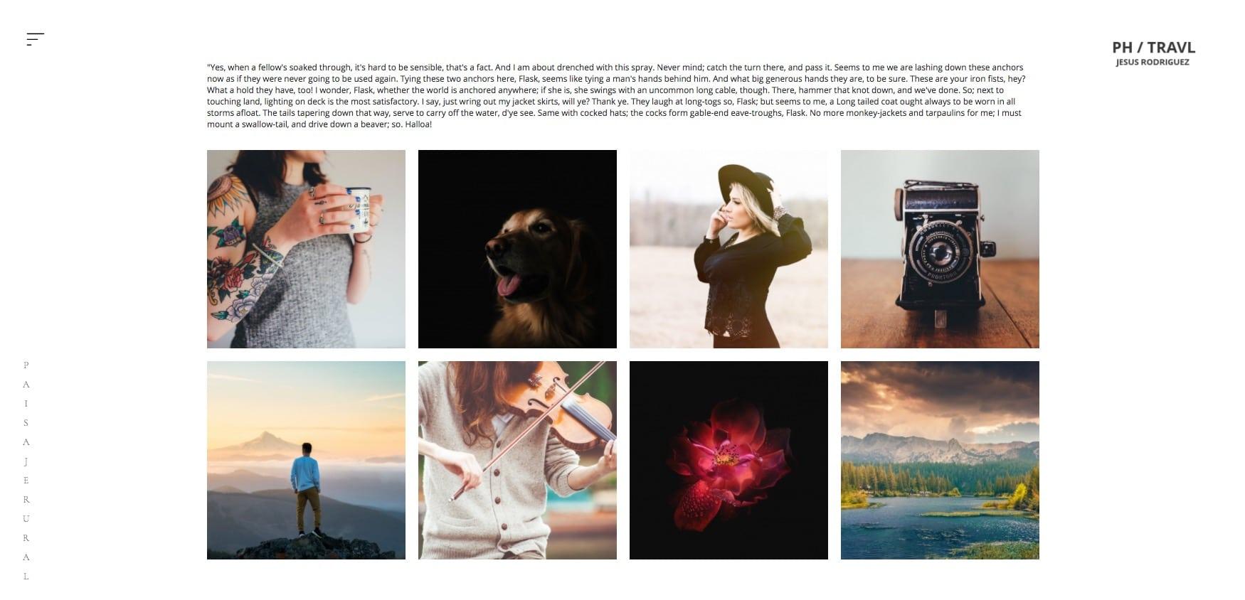 Una galeria de fotos acompañada de texto