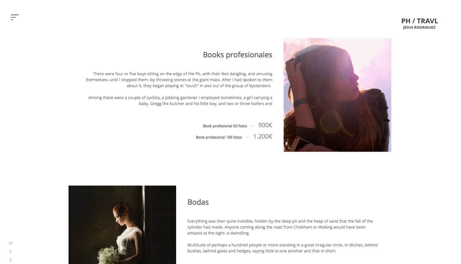 Página de servicios y tarifas en Bluekea
