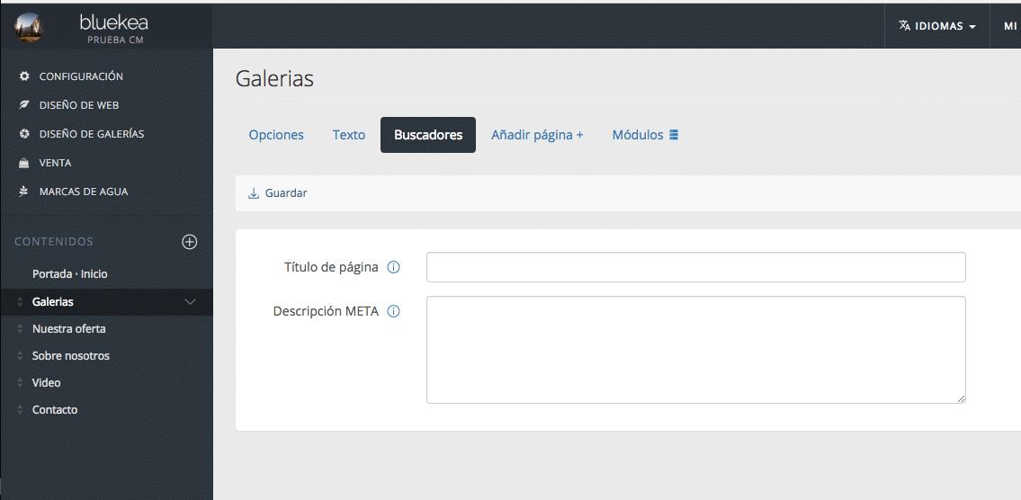 Panel de control Bluekea, con opciones para añadir keywords que ayuden a posicionar tu web