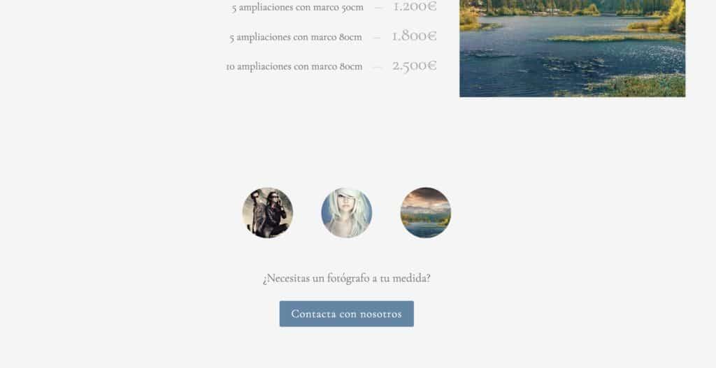 Botón de llamada a la acción al final de una página de servicios fotográficos