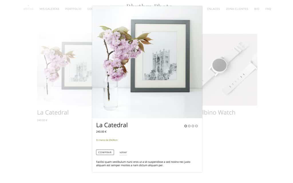 Módulo de Tienda Online para productos en web de fotografía.