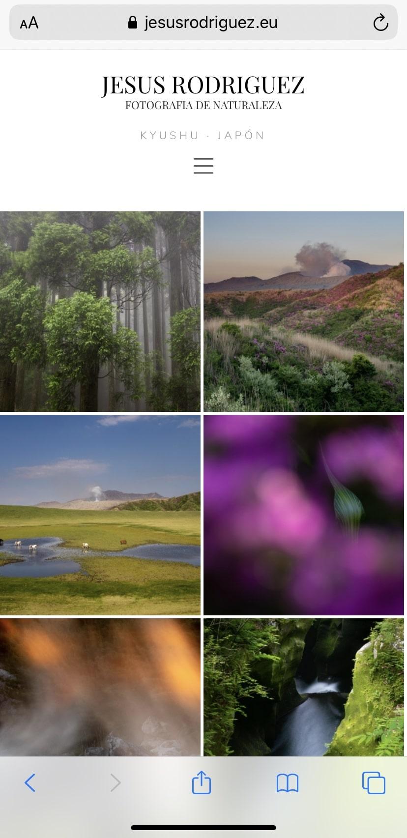 Web de fotografía para móvil mejorada