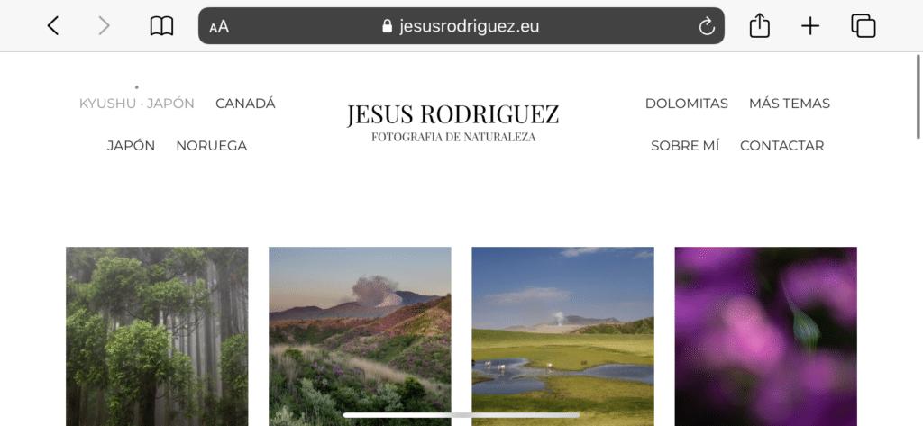 Web para fotografía creada en Bluekea vista en un iPad