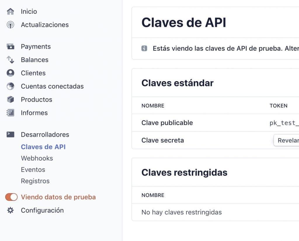 Claves de API en el modo de prueba de Stripe