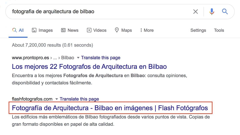 Título y descripción meta tal como aparecen en resultados de Google